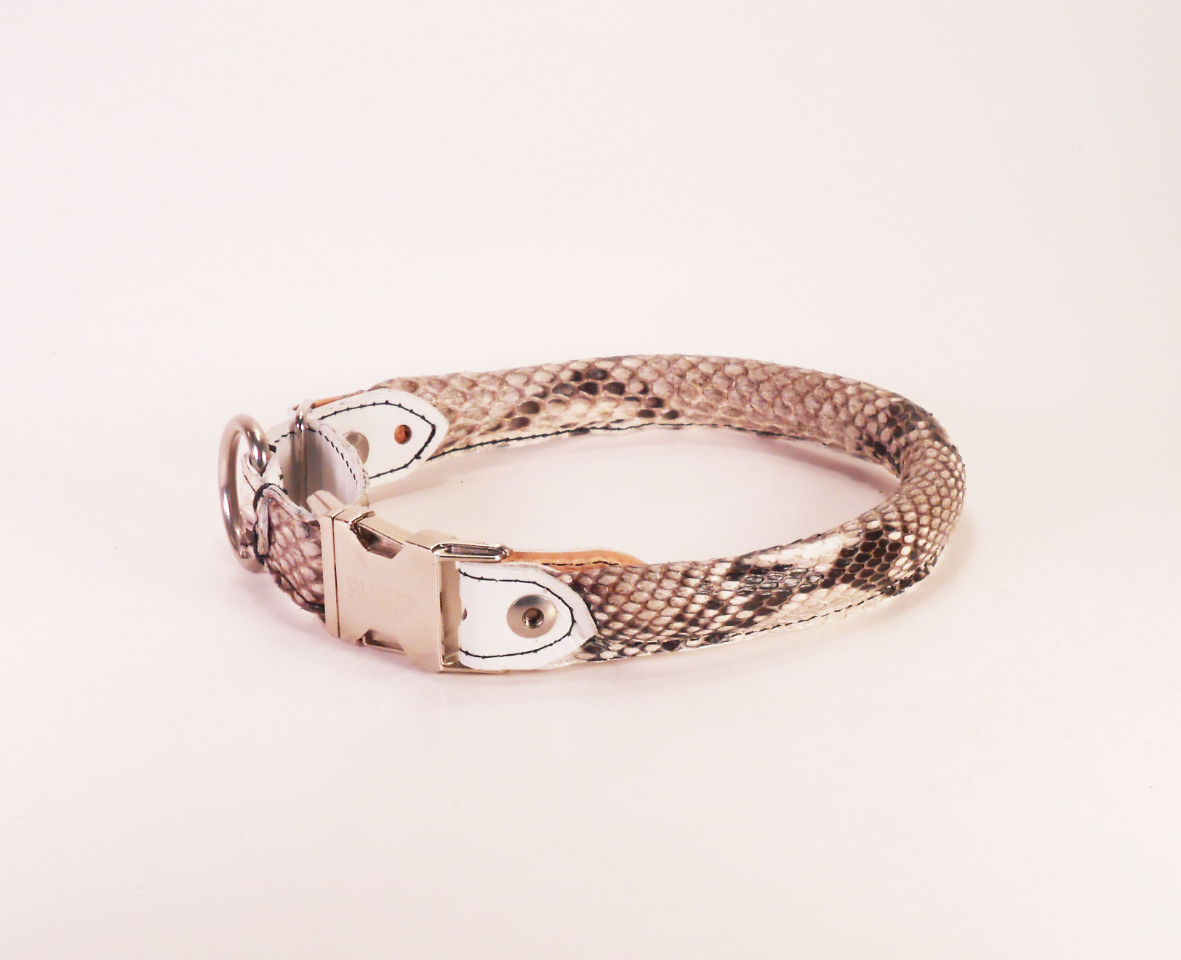 Rolled Leather Dog Collar Snap Buckle